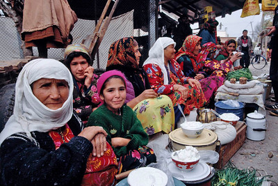 Bokhara, Samarkand city – where many widows migrate along with their family to make living by selling home made products eg., sweets, sausages, and nuts. Tazikistan; Voesha