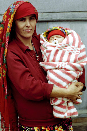 A women with her new baby outside the clinic. Tazikistan; Voesha