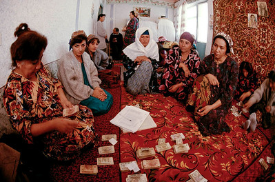 The Saving and Credit Groups are mostly widowed women or young girls who lost their father in the war. They all meet every month for an update and follow-ups. Tazikistan;Dushambee