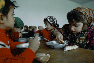 Save The Children/US runs a programme in Tajikistan helping out the widows and children with schools and with Saving and Credit Scheme and Health. These girls lost their father in war. They are given food and education by SCF-US. Kurgentubee; Tazikistan