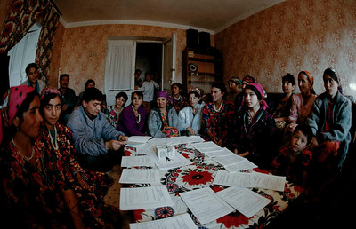 Young girls and some widows from a saving and credit group in training. Tazikistan;Dushambee