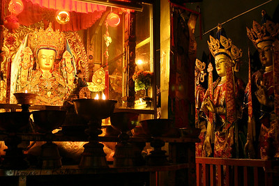 Golden statue of Buddha at Ramoche Monastery. Tibet.