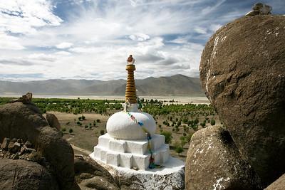 Chortens at Samye Monastery. Tibet.