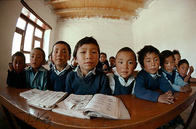 Tibetan refugee children at Marpha Refugee camp. Kali Gandaki region, Nepal. His Holiness the 14th Dalai Lama realized the importance of setting up schoools for his people in exile in India and Nepal. Therefore, The Tibetan Childrens Village was established. Since it's inception it has educated thousands of Tibetan children and helps to retain their language and culture.