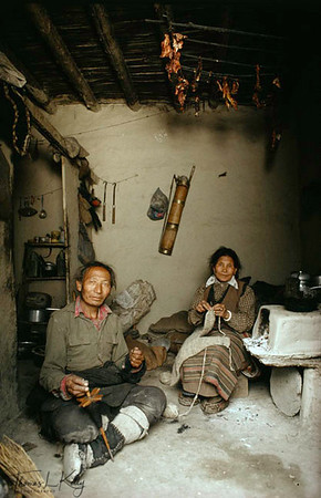 "An elderly couple spinning wool, Tseruk resettlement camp, Thak Khola, Nepal. ""I remember the yaks and sheep, the wide open grasslands.."" The butter and yogurt were always fresh and pure... I pray that Tibet will soon be free and that I can return and die in homeland."""