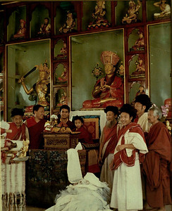 Young Rimpoche with his spiritual teachers, Tongdens in their white robes. These great teahers combine the Buddhist path and with yogic teachings.