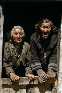 Older Tibetan refugees at Marpha Refugee camp.