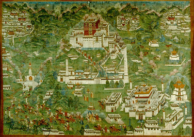 Painting of Power spots of Lhasa.