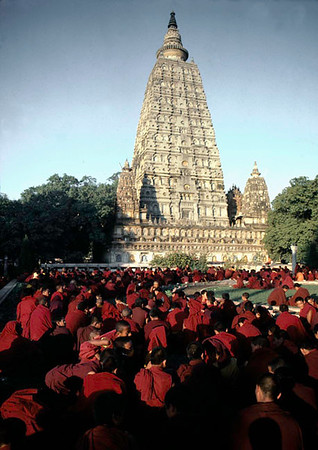 Bodhgaya, Kalachakra initiation. India Monks attending the Kalachakra Initiation at the Mahaboudhi Temple in Bodhgaya, India. The Mahabodhi Temple marks the site of BuddhaÕs enlightment twenty-five hundred years ago.