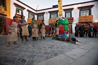 Barkhor street in Lhasa, Tibet.