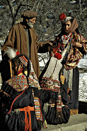 Kalash elder judges traditional folk songs at the Biramor Winter Solstice ceremony. Chitral, Pakistan.
