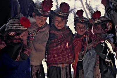 Kalsha kids dancing during the festival. Dances evoking an amorous state of being, during the Biramor Winter Solstice ceremony. Chitral, Pakistan.