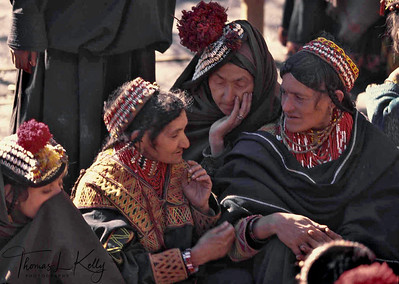 The kupas, the headdress of the women, is a mark of Kalash identity. Covered with cowrie shells, it is an appeal for protection and fecundity. The headdress is the first object that fascinates any penetrating into Kalash territory.  Chitral, Pakistan.