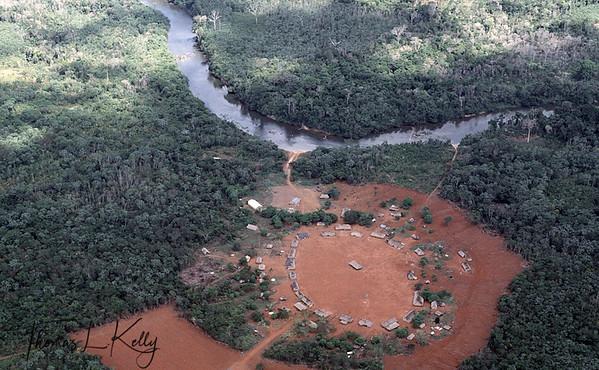 Aerial view of Kayapo dwellings.