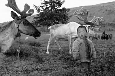 "73. Tsaatan Reindeer Boy, West Taigaa, Mongolia Museo Fine Art Paper. (B&W Digital Print)  Dimensions: 13.17"" x 20"" Edition: 1/25"