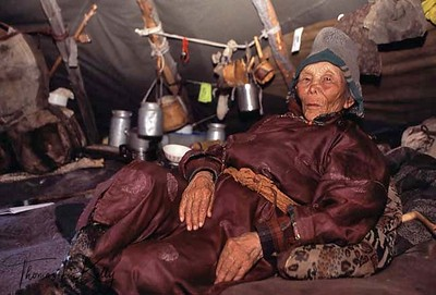A hundred and four years old Shamanist, Suyan. Darkhad has remained the last and strongest pocket of shamanism left in a quickly changing Mongolia. West Taiga, Northern Mongolia.