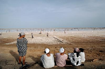 The Indigenous Wayuu tribes working in  salt harvesting site.