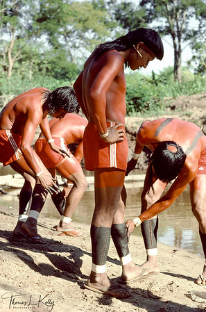 Xavante men assist one another painting body for a an initiation cereony.