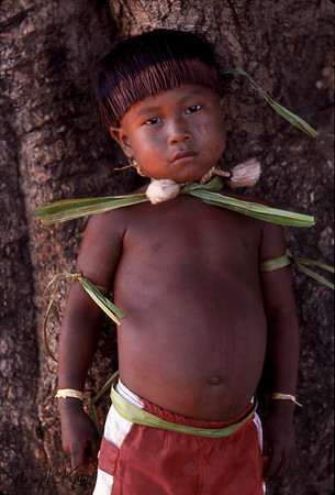 Little Paulo all ready for the initiation rites ceremony. The boys are a splendid sight painted in scarlet and black with broad ceremonial collars and wrists bands of white cloth.