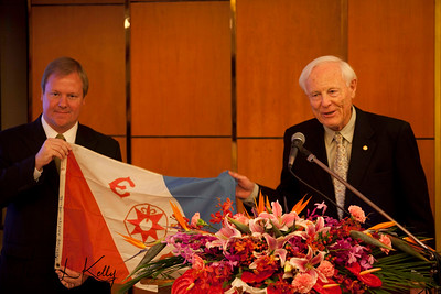 President of The Explorers club, Alan Nichols was presented with a traditional Explorers Club flag to take on his upcoming Genghis Khan Expedition by Steven Schwankert, East Asia Chapter Chair, The Explorers Club. Beijing, China.   www.explorers.org