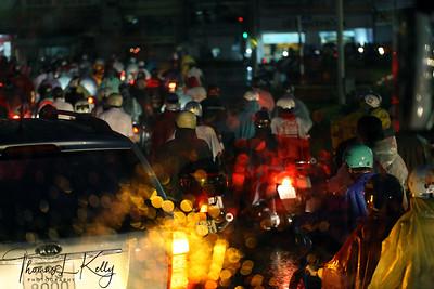 Evening traffic jams at Ho Min Chi City in Vietnam.