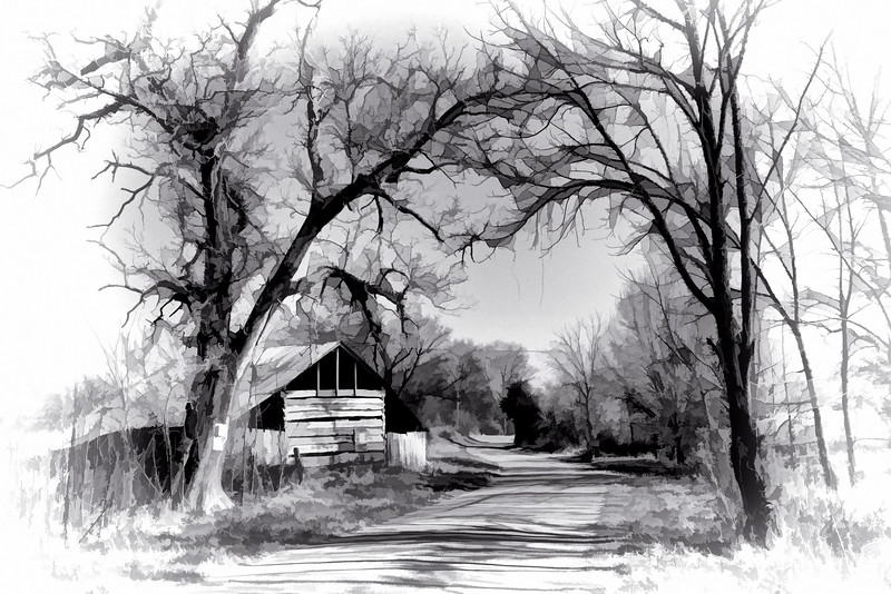 "ETC-3344  ""Country Barn and Road""  in Selenium"