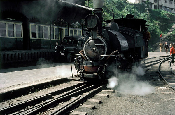 Darjeeling Toy Train which runs on a 2 feet gauge for a distance of 86 km. The entire journey is covered in around 71/2 hours with a maximum of 15 kmph.  Darjeeling, India.