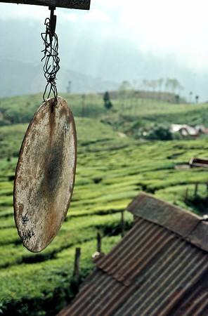 This bell-plate is as old as tea plantation in Darjeeling. Darjeeling, India.