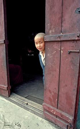 Tibetan boy.  Self-Help Refugee Center, Darjeeling, India.