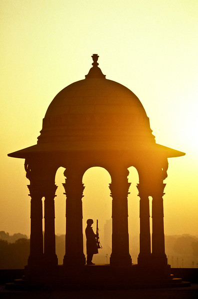Sentry at entrance to  Rashtrapati Bhavan.  New  Delhi, India.