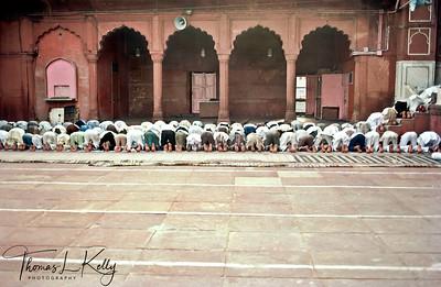 Muslim praying  at Jama Masjid. New Delhi, India.
