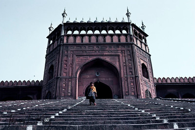 Lahore gate, Jama Masjid. This marvelous structure opposite the Red Fort was planned by Ustad Khalil in the seventeenth century and built by Shah Jehen. Its construction started in 1650 and ended in 1656. The huge dome and minars with 122 stairs and 40 metres high. At any time, 20,000 devotees can assemble for prayers.  New Delhi, India