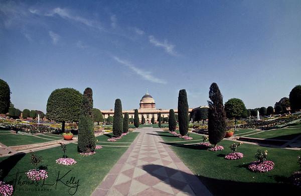 Overview of  Rashtrapati Bhavan.  New  Delhi, India.