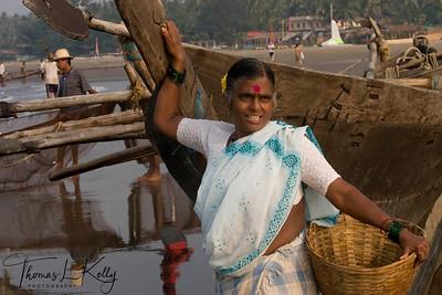 Fisher-women at work. Baga beach.