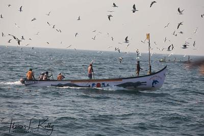 Goan Fishermen at Arabian sea. Goa, India.