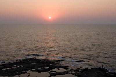 Sunset at Arabian sea. Northern Goa, India.