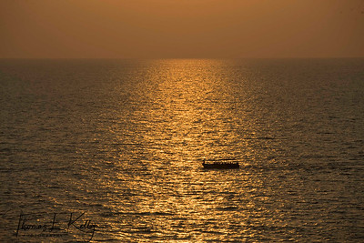 Sunset at Arabian sea. Northern Goa, India.