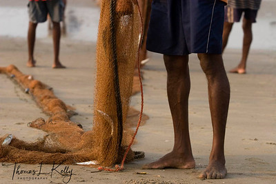 Fishermen at work. Baga beach.
