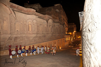 Rajasthan folk musicians and dancers welcome you to the Mehrangarh fort. Jodhpur, Rajasthan, India.