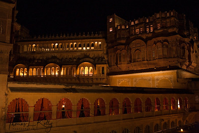 Intricate carvings and expansive balcony around courtyard of The Mehrangarh fort.