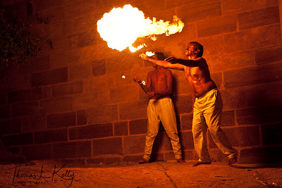 Firework performer at The Mehrangarh fort. Jodhpur, Rajasthan, India.