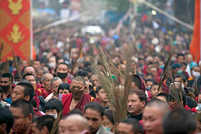"Tens of thousands of Buddhist pilgrims from around the world traveled to Bodhgaya, a town in northern India, to hear exiled Tibetan spiritual leader the Dalai Lama give the ""Kalachakra"" religious teachings. Kalachakra Initiation in Bodhgaya, India. (Jan-2012)"
