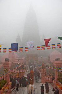 Early morning prostration at Maha Bodhi temple complex. Kalachakra Initiation in Bodhgaya, India. (Jan-2012)