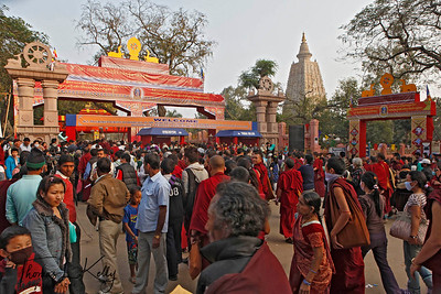Tens of thousands of Buddhist pilgrims from around the world traveled to Bodhgaya, a town in Northern India, to hear exiled Tibetan Spiritual leader HH Dalai Lama give the Kalachakra-religious teachings. Main entrance of Mahabodhi Temple in Bodhgaya. Kalachakra Initiation in Bodhgaya, Bihar, India. (Jan-2012)