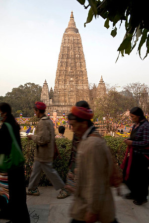 Buddhist pilgrims circumambulate Maha Bodhi temple in Bodhgaya. Kalachakra Initiation in Bodhgaya, India. (Jan-2012)