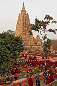 Mahabodhi Temple complex. Kalachakra Initiation in Bodhgaya, India. (Jan-2012)