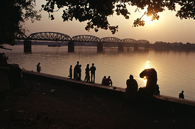 Howrah Bridge in the sunset. Calcutta, India.
