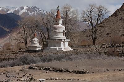 Chortens on the way to Hemis Monastery.