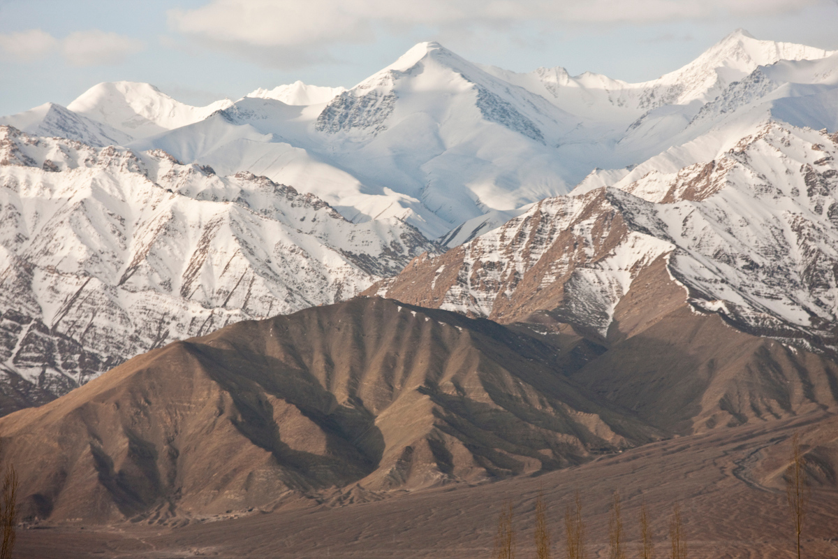 Mountains dominate the landscape around the Leh as it is at an altitude of 3,500m. Ladakh, India.