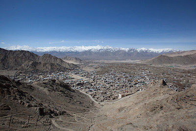 Sprawling Leh city. Ladakh, India.